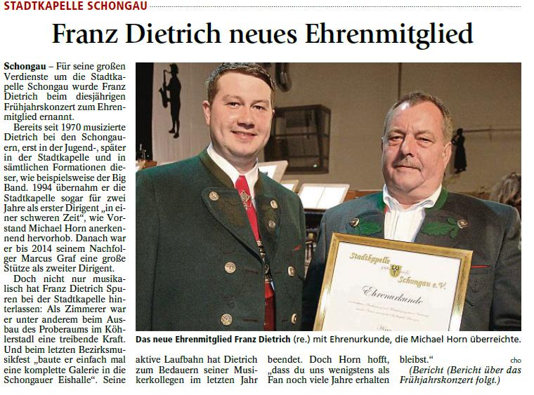 Ehrung Dietrich Franz